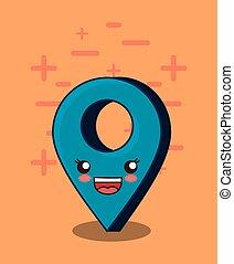 kawaii location pin icon