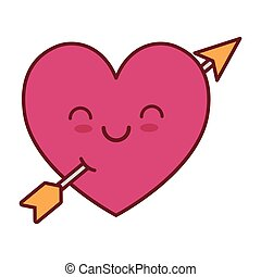 kawaii love heart  arrow valentine