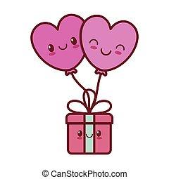 kawaii love heart balloon gift box valentine