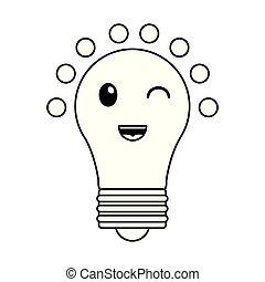 kawaii, lumière, dessin animé, noir, ampoule, blanc, sourire