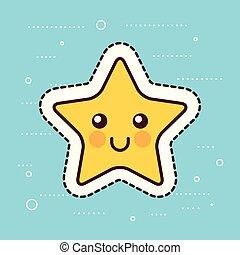 kawaii, mignon, étoile, jaune, dessin animé, noël, heureux