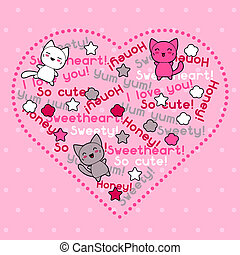 kawaii, mignon, carte, cats., griffonnage