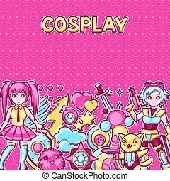 kawaii, mignon, cosplay, articles, japonaise, arrière-plan...