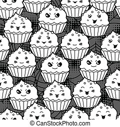 kawaii, mignon, cupcakes., modèle, halloween, seamless, dessin animé