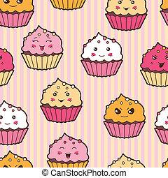 kawaii, mignon, cupcakes., modèle, seamless, dessin animé