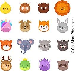 kawaii, mignon, ensemble, animaux, emoticons., rigolote, licorne, owl., avatars, isolé, dragon, lion, vecteur, tigre, animal, éléphant, bébé, smiles., manga