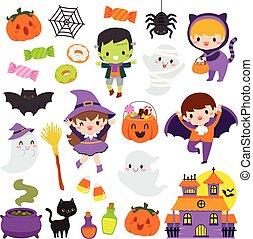 kawaii, mignon, ensemble, clipart, halloween