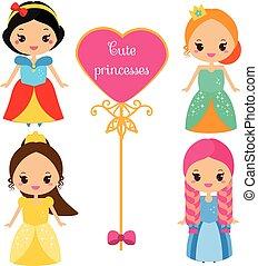 kawaii, mignon, femme, coloré, costumes., reine, filles, collection, style., vecteur, caractères, princesses, dessin animé, robes
