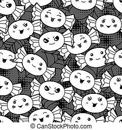 kawaii, mignon, modèle, candies., halloween, seamless, dessin animé