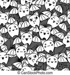 kawaii, mignon, modèle, halloween, seamless, bats., dessin animé