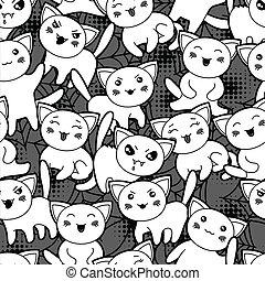 kawaii, mignon, modèle, halloween, seamless, cats., dessin animé
