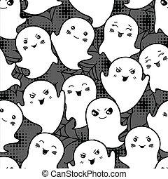 kawaii, mignon, modèle, halloween, seamless, dessin animé, ghosts.