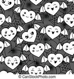 kawaii, mignon, modèle, halloween, seamless, hearts., dessin animé