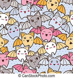 kawaii, mignon, modèle, seamless, bats., dessin animé