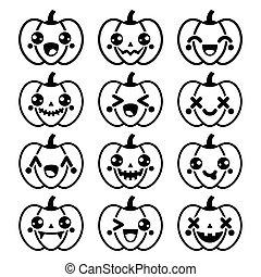 kawaii, mignon, noir, halloween, citrouille