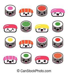 kawaii, mignon, nourriture, sushi, -, japonaise