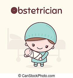 kawaii, mignon, obstetrician., professions., alphabet, -, o, characters., lettre, chibi