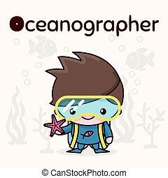 kawaii, mignon, oceanographer, professions., alphabet, -, o, characters., lettre, chibi