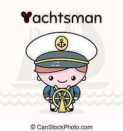 kawaii, mignon, professions., alphabet, -, characters., chibi, lettre, yachtsman