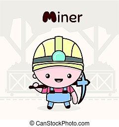 kawaii, mignon, professions., alphabet, -, m, characters., miner., lettre, chibi