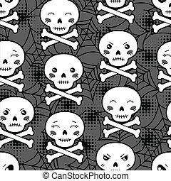 kawaii, mignon, skulls., modèle, halloween, seamless, dessin animé