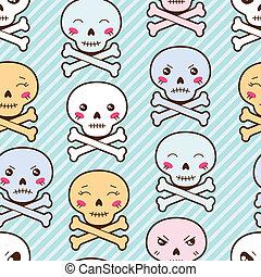 kawaii, mignon, skulls., modèle, seamless, dessin animé