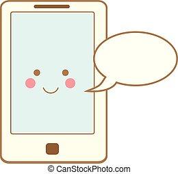 kawaii, mignon, smartphone, caractère, téléphone, parole, icon., bulle, sourire