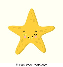 kawaii, mignon, style, plat, starfish., illustration, dormir, vecteur, sourire