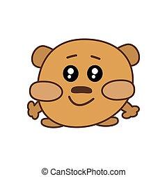 kawaii, mignon, yeux, vecteur, joues, stands, brun, plat, doux, autocollant, ours, énorme, smiles., forêt, grand, icône, animal., pattes, ouvert, sien, logo