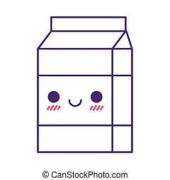 Kawaii milk box cartoon line style icon vector design