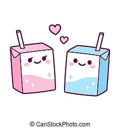 Kawaii milk box couple