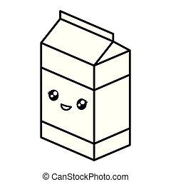 kawaii milk box icon
