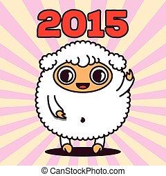 kawaii, mouton, 2015, rayons, signe