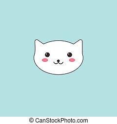 kawaii, museau, mignon, chat