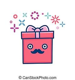 kawaii mustache valentine gift box illustration
