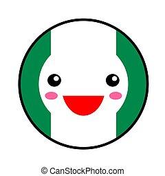 Kawaii Nigeria flag smile. Flat style. Cute cartoon isolated...