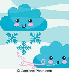 kawaii, nuages, hiver, dessin animé, vent, flocons neige