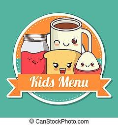 kawaii, nutrição, crianças, menu, desenho, pequeno almoço