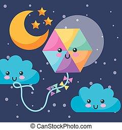 kawaii, nuvens, papagaio, céu, lua, estrelas, noturna
