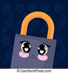 kawaii padlock icon