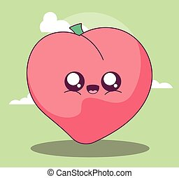 kawaii peach cartoon vector design