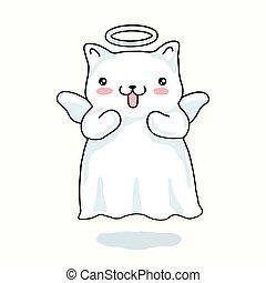 kawaii, piccolo angelo, isolato, style., giapponese, fondo., dipinto, cartone animato, gatto, ali, alone, beige