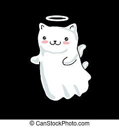 kawaii, piccolo angelo, isolato, style., giapponese, fondo., nero, dipinto, cartone animato, gatto, ali, alone