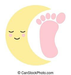 kawaii, pied, caractère, lune, bébé, impression