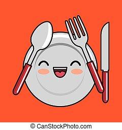 kawaii, placchi cucchiaio, disegno, forchetta, icona coltello