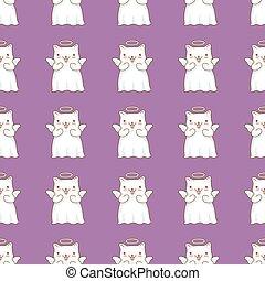 kawaii, poco, viola, modello, stile, seamless, giapponese, fondo., gatti, dipinto, fondo, cartone animato, angeli, ali, alone