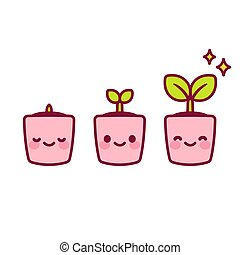 Kawaii potted plant - Growing kawaii baby plant illustration...