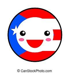 Kawaii Puerto Rico flag smile. Flat style. Cute cartoon...