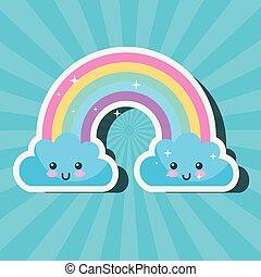 kawaii rainbow and clouds sunburst cartoon weather