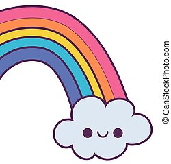kawaii rainbow cartoon vector design